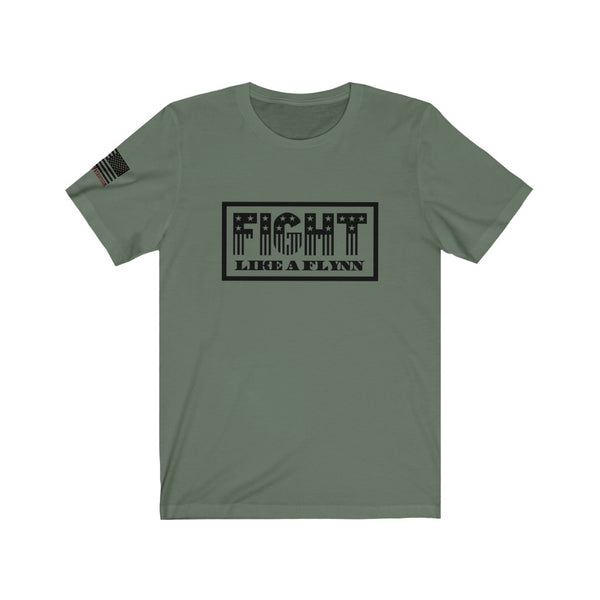 FIGHT LIKE A FLYNN w/ flag sleeve print - Unisex Jersey Short Sleeve Tee