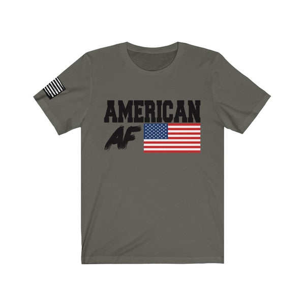 FREE SHIPPING!! American AF - Bella & Canvas Tee w/ Flag Print on right sleeve - Patriotic, maga, America Trump
