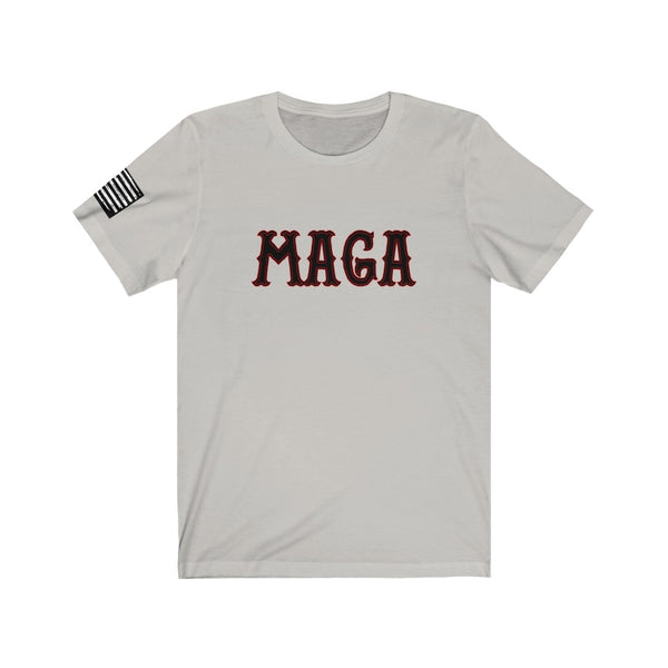 MAGA - A New Twist On An Old Favorite!! Biker style font with distressed Flag print on right sleeve, Patriot, America
