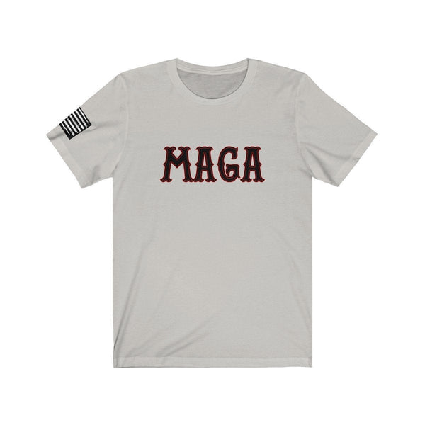 FREE SHIPPING! - MAGA  - Biker style font with distressed Flag print on right sleeve, Patriot, America, Trump 2020, Make America Great Again