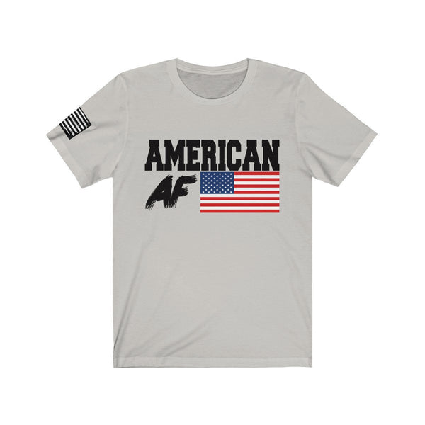 Free Shipping!! - American AF -  Bella & Canvas Tee w/ Flag Print on right sleeve - Patriotic, MAGA, Q, America, Trump, 2020