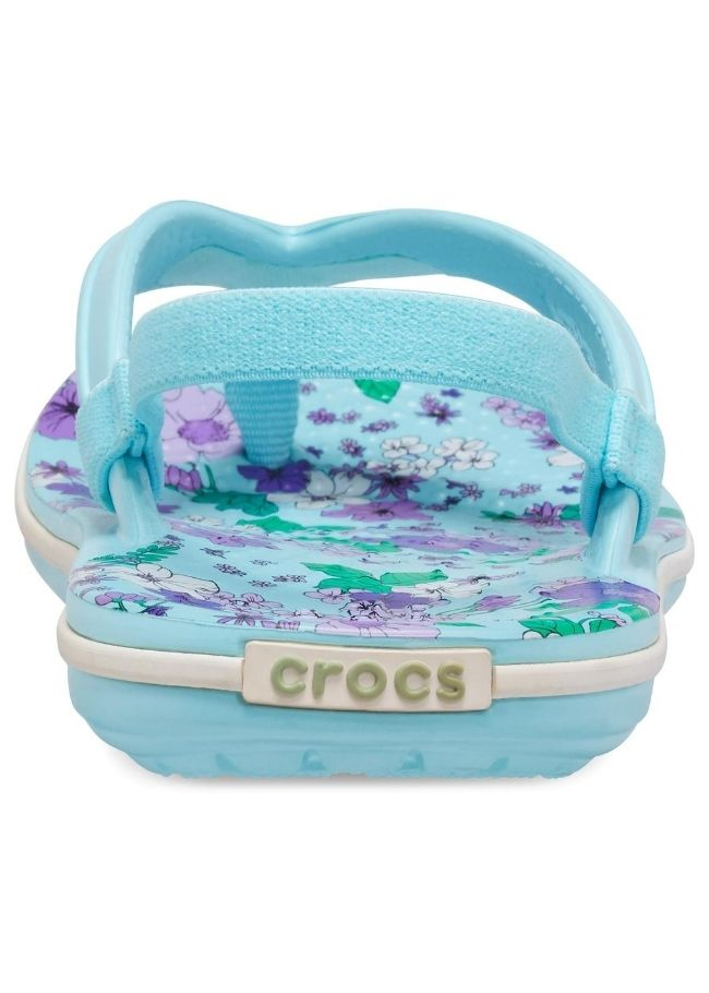 Crocband Floral Strap Ice Blue Kids-Girls Flip