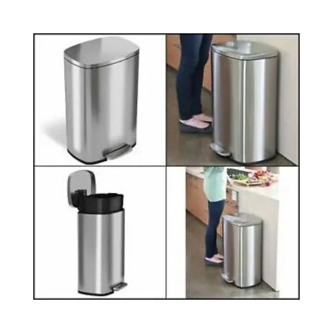 iTouchless SoftStep 13.2 Gallon Stainless Steel Step Trash Can, 50 Liter Pedal Kitchen Trash Can, Re