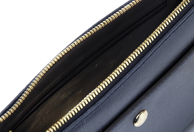 Bonia Shoulder Bag Full Leather Navy Blue