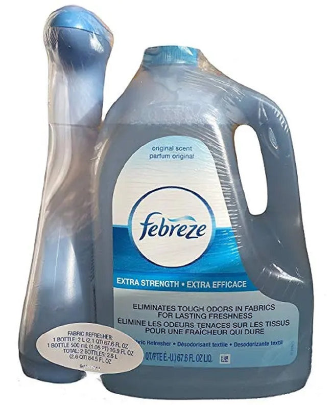3 of Febreze Extra Strength Fabric Refresher Value Pack 16.9 oz Spray With 67.6 oz Refill Bottle
