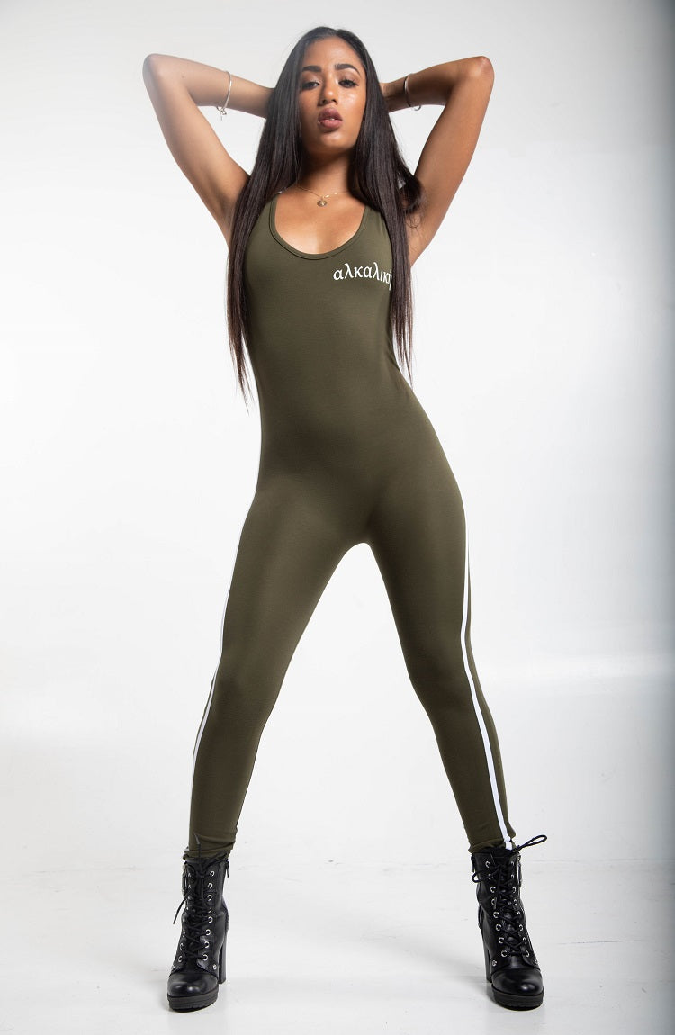 Olive Green Stripe Body Suit - Detta Store