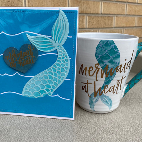 Card & Cup: Mermaid (blue tail)