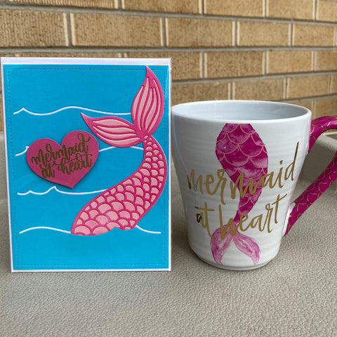 Card & Cup: Mermaid (pink tail)