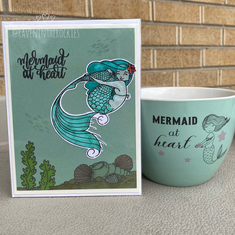 Card & Cup: Mermaid at Heart (sea foam)