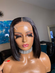 Angel- 12, 14, 14 Indonesian straight with 12 inch 4x4 transparent closure - Styled By Zahna