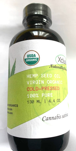 HEMP SEED OIL - VIRGIN ORGANIC 100% PURE 4.4 OZ 130 ML