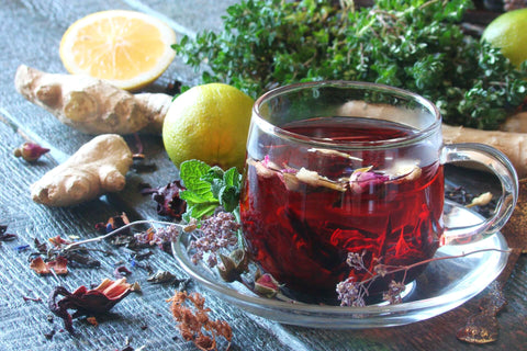 Red Hibiscus + Ginger Mix | Powder Form| Herbal Tea| Natural Tea