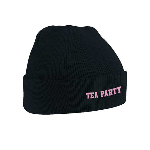 TEA PARTY BLACK BEANIE