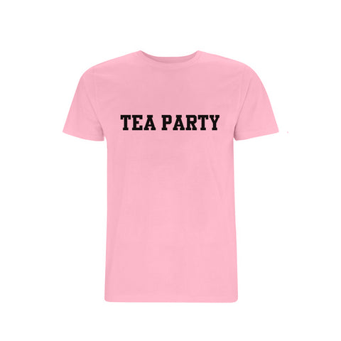 TEA PARTY TEXT LOGO PINK T-SHIRT