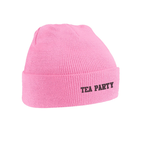 'Tea Party' Pink Beanie O/S
