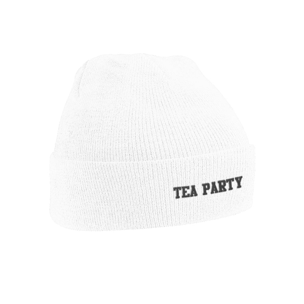 TEA PARTY WHITE BEANIE
