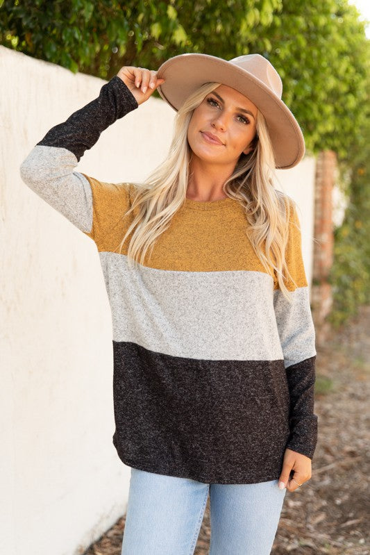 LONG SLEEVE COLORBLOCK BRUSHED SWEATER KNIT
