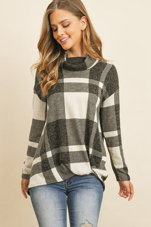 Plaid Checker Print Cowl Neck Top