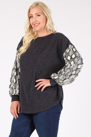 Curvy Snake Bubble Sleeves Sweater Top