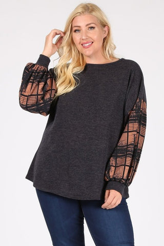 Curvy Check Bubble Sleeves Sweater
