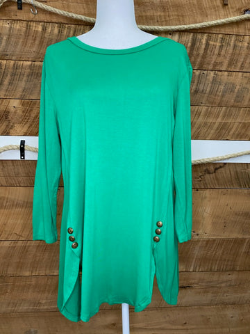 Curvy Solid Long Sleeve Tunic Top