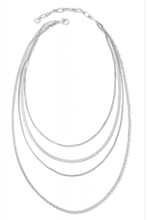 Multi-Layered Silver Chain Necklace