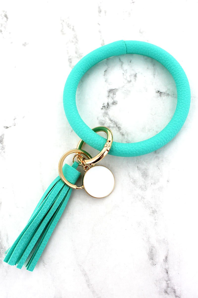 MINT FAUX LEATHER TASSEL BANGLE KEYCHAIN