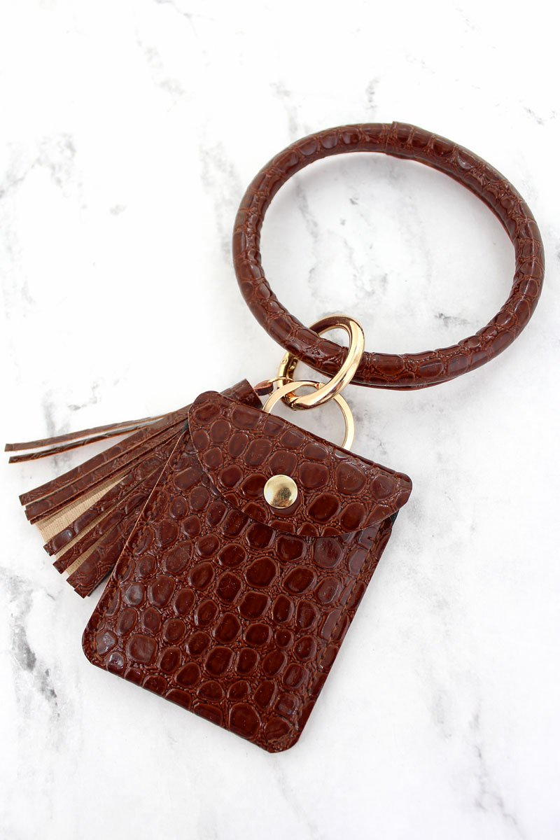 Brown Croco Bangle Keychain with Pouch
