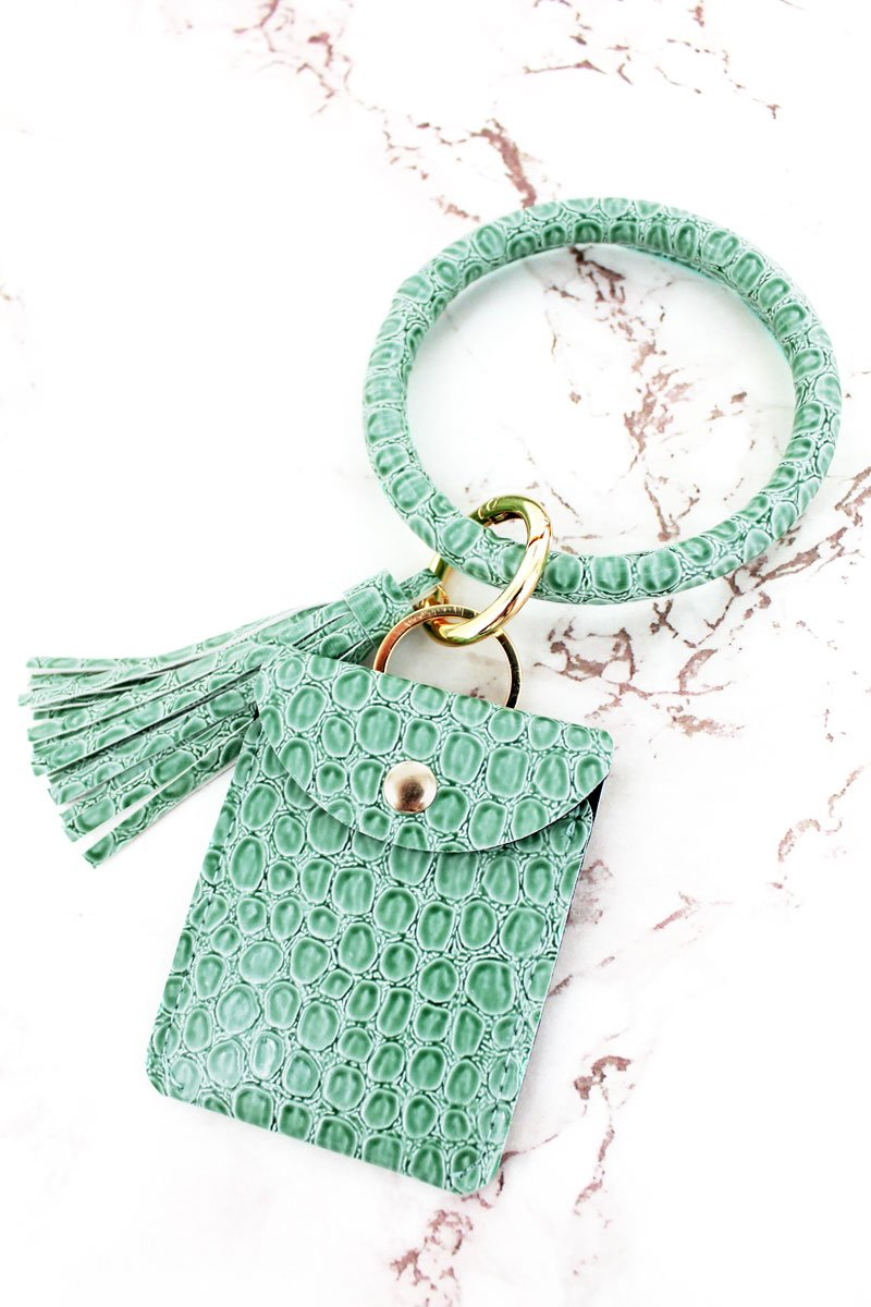SEAFOAM GREEN CROCO BANGLE KEYCHAIN WITH POUCH