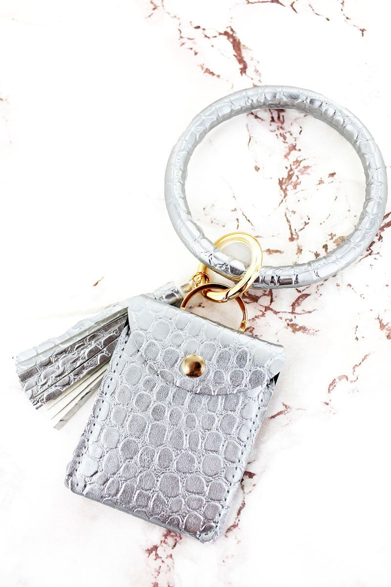 Silver Croco Bangle Keychain with Pouch