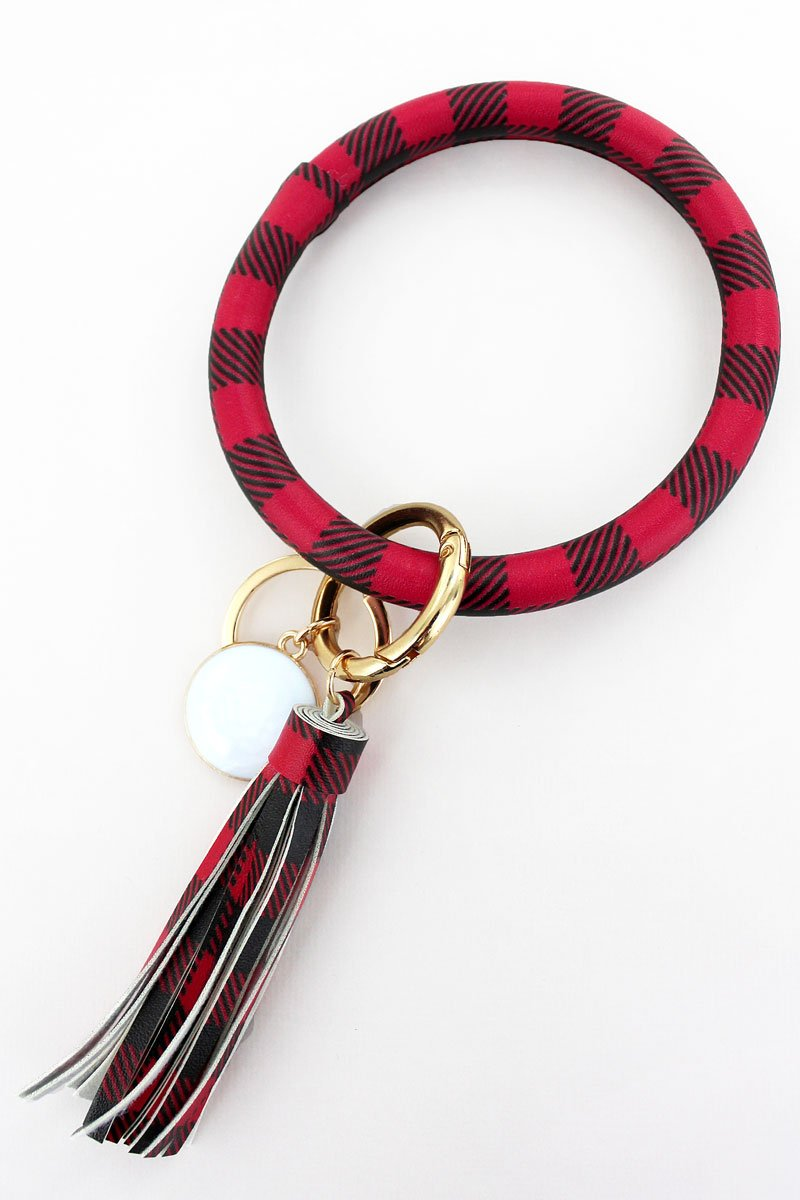 Red and Black Buffalo Plaid Faux Leather Tassel Bangle Keychain