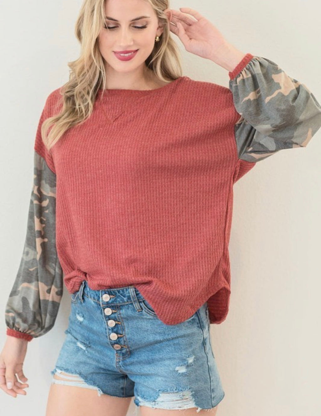 Rust/Camo Sleeve Top
