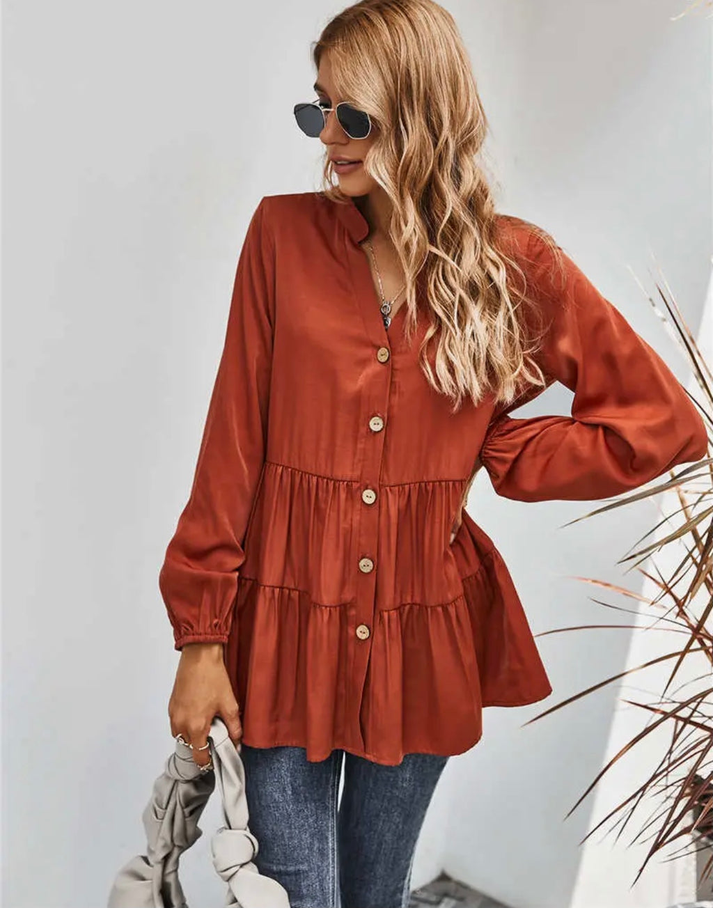 Rust Long Sleeve Tiered Top