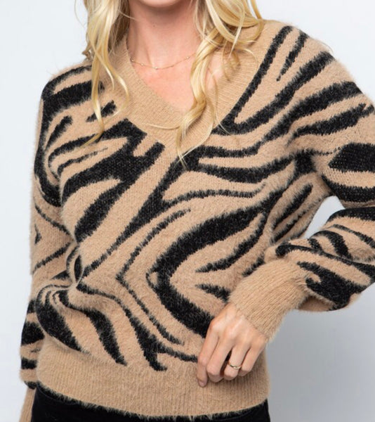 Zebra Print Sweater, Tan