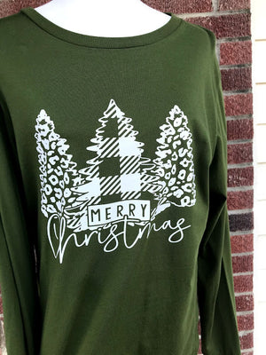 Olive Merry Christmas Long Sleeve Tee