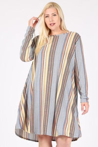 Curvy Long Stripe Multi Dress With Pockets