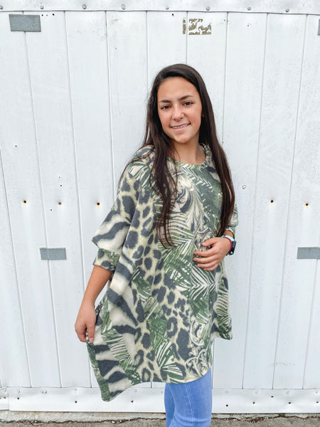 Abstract Tunic Top, Olive
