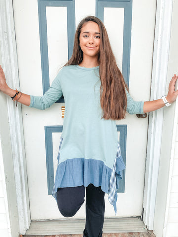 Solid Knit Sage Blue with Plaid Ruffles Tunic