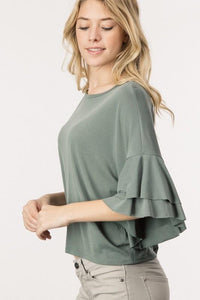 Double Ruffled Sleeved Top