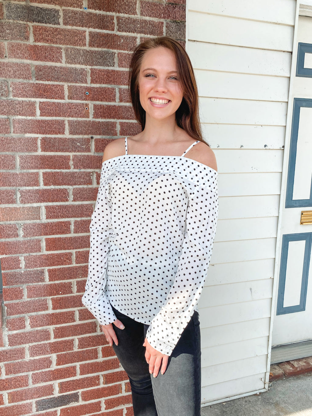 Polka A Dot Off Shoulder Top