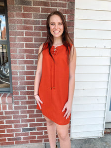 Rust Sleeveless Shift Dress