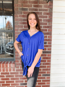 Royal Blue Front Tie Top