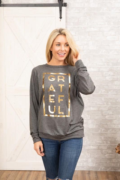 Curvy Foil Grateful Sweatshirt