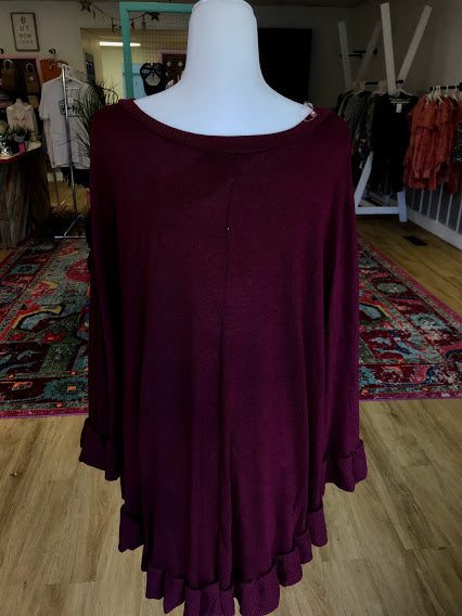 Curvy Maroon Knit Top