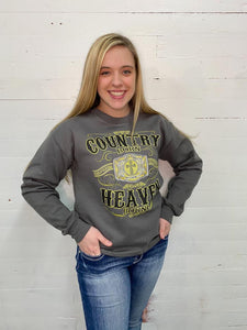 Country Born and Heaven Bound Grey Sweatshirt