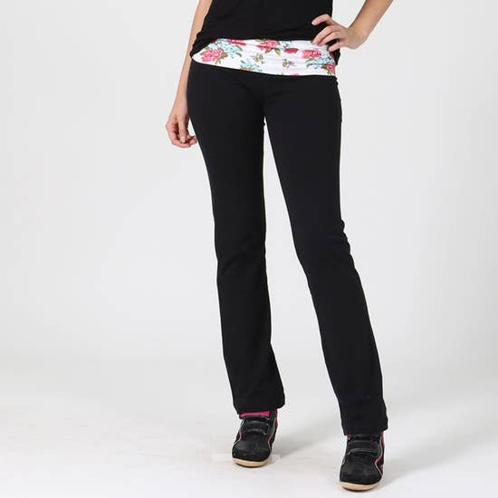 Fitted Floral Contrast Yoga Pants