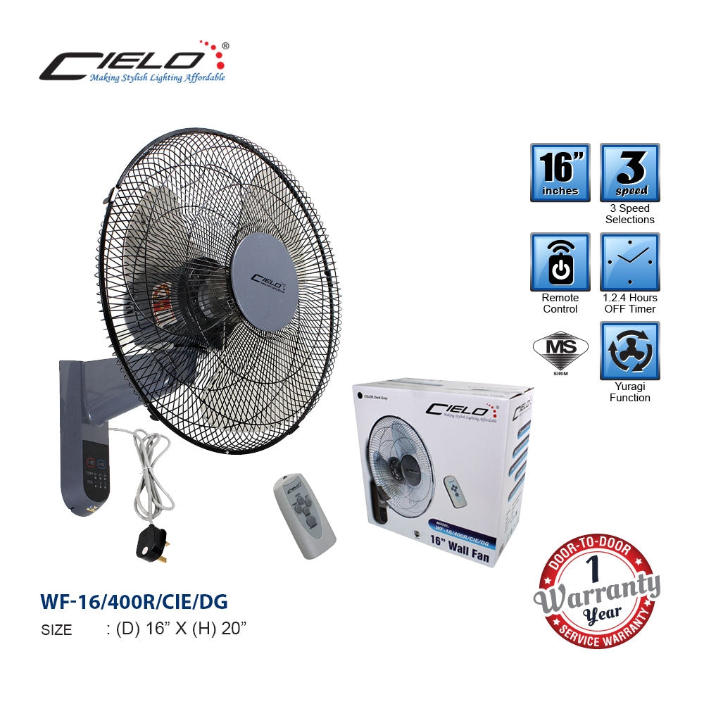 "Cielo 16"" [Remote Control/Pully] [White/Dark Grey] Wall Fan - Sirim Certificated"