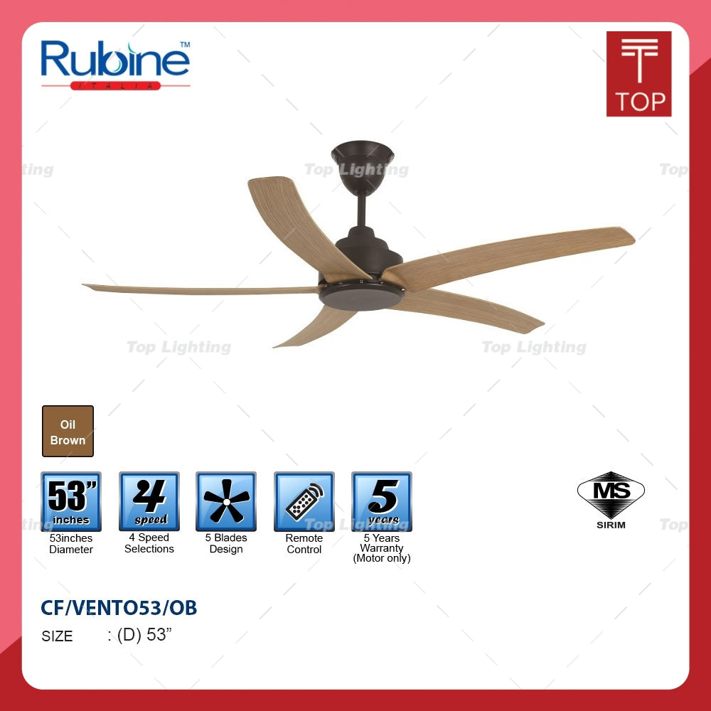 "Rubine Vento 53/42"" Oilbrown Decorative Ceiling Fan"