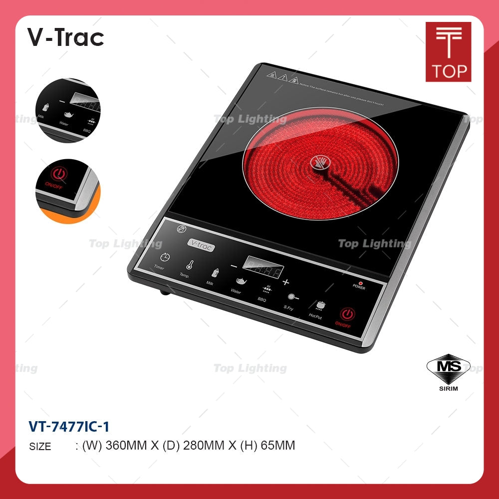 V-TRAC VT-7477IC-1 2000W Tempered Glass Infrared Cooker