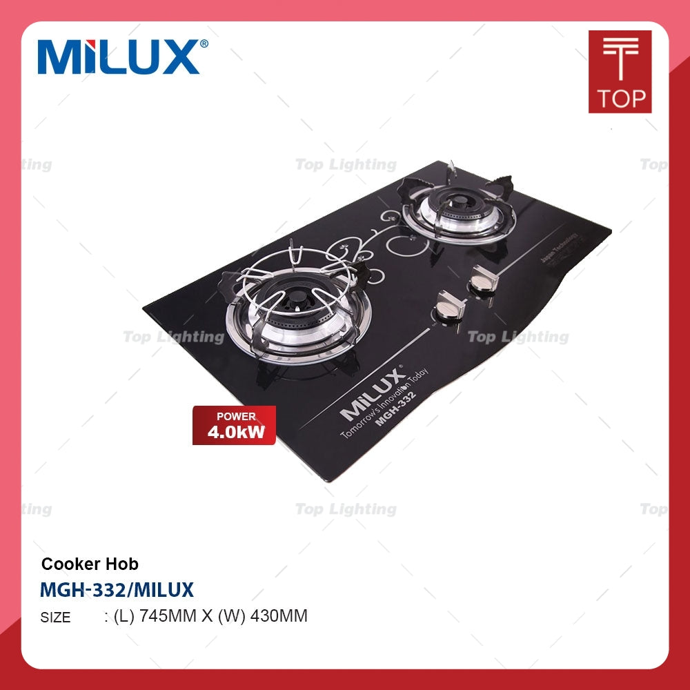 Milux MGH-332 3.5KW Built-in Tempered Glass Double Burner Gas Cooker Hob